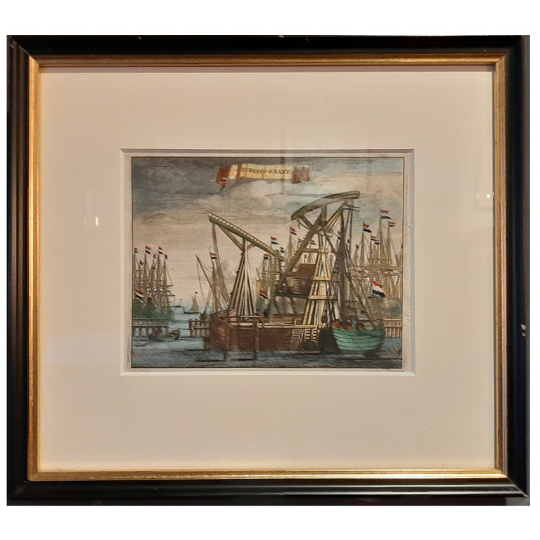 Antique Print of the Ship Cranes of Amsterdam by Commelin (1693)