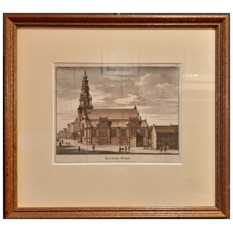 Antique Print of the 'Zuiderkerk' in Amsterdam by Ratelband (1737)