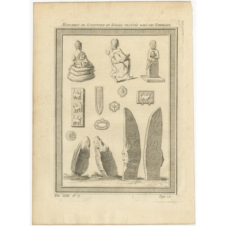Antique Print of Krasnoyarsk Sculptures and Idols by Prévost (1768)