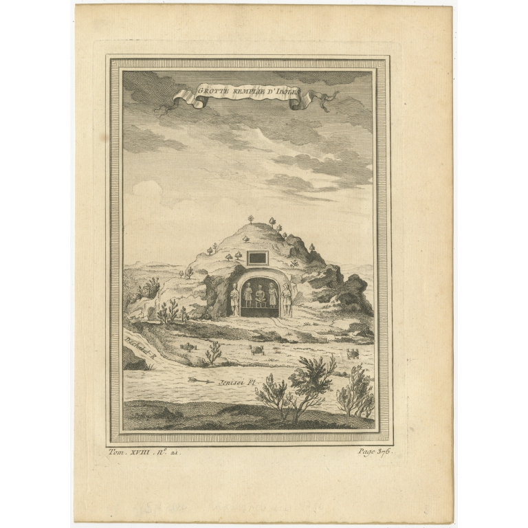 Antique Print of a Cave near the Yenisei River by Prévost (1768)
