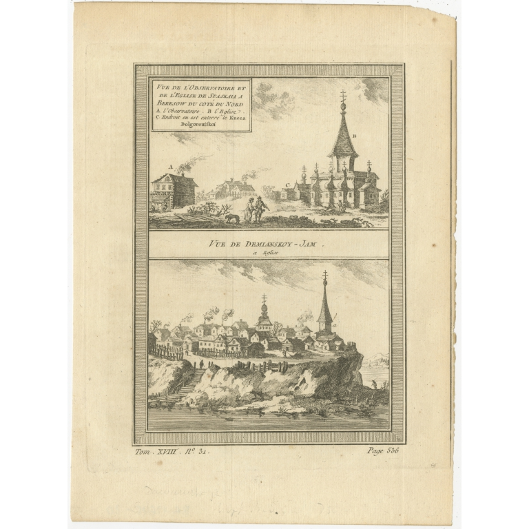 Antique Print of Spakaia and Demyanskoye by Prévost (1768)