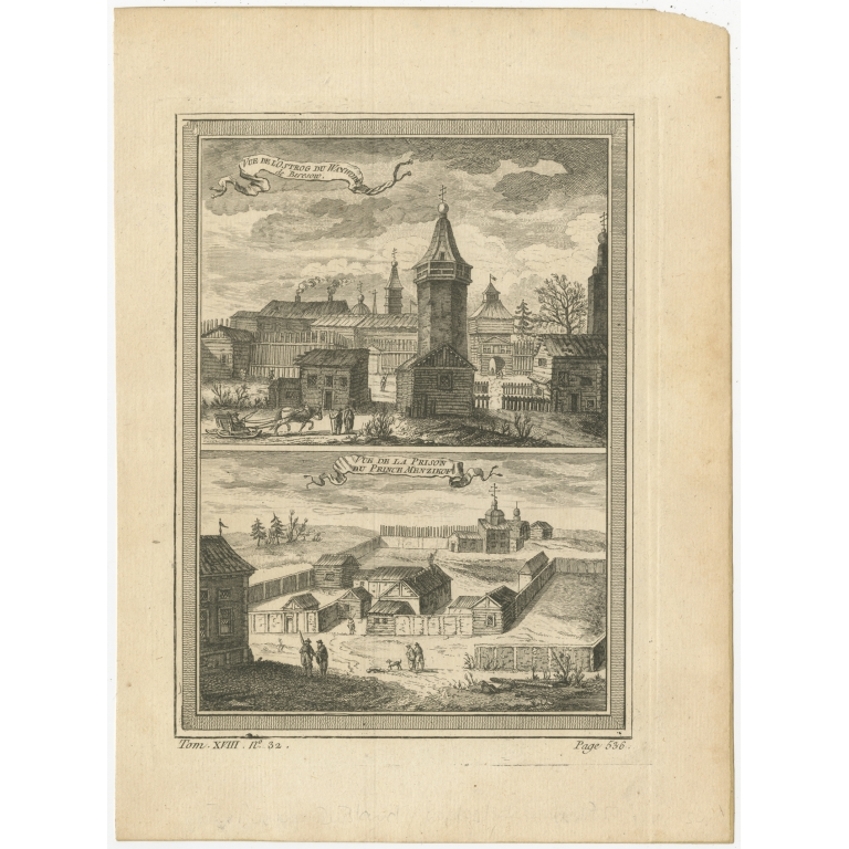 Antique Print of a Fortress and Prison in Siberia by Prévost (1768)