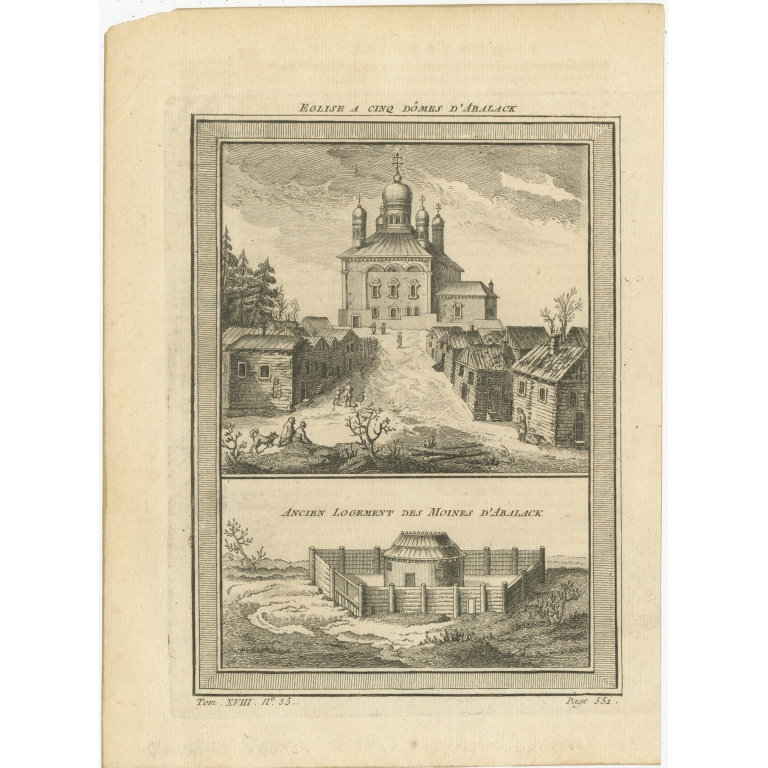 Antique Print of a Church and Monastery in Abalak by Prévost (1768)