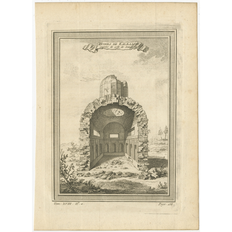 Antique Print of the Ruins of Kalbassin by Prévost (1768)