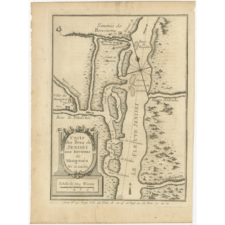 Antique Map of the Yenisei River by Prévost (1768)