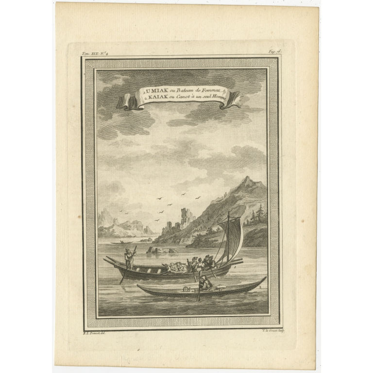 Antique Print of a Woman's Boat and a Kayak by Prévost (1770)