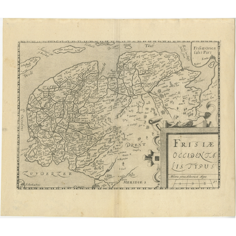 Antique Map of Friesland by Guicciardini (1612)
