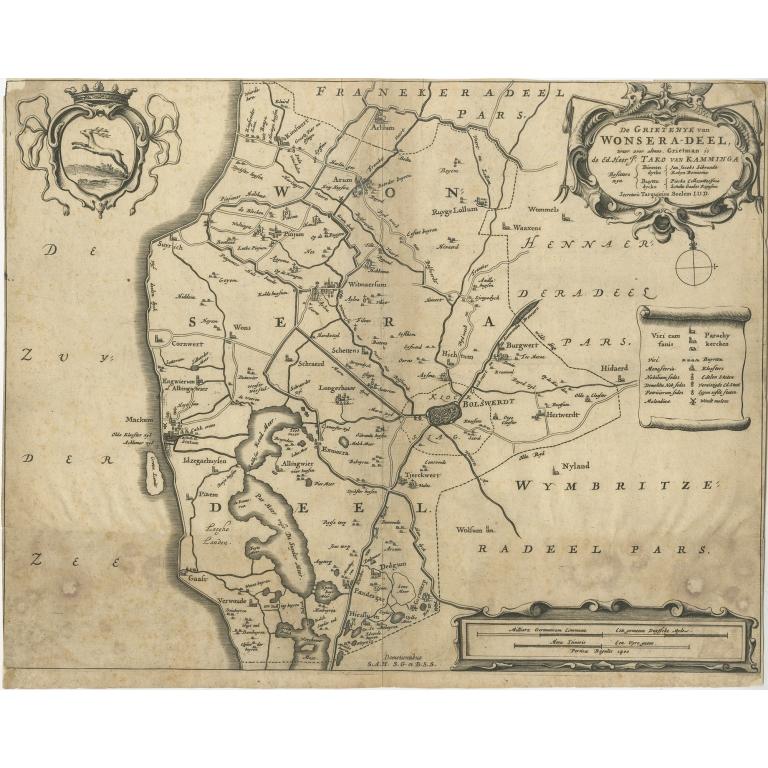 Antique Map of the region of Wonseradeel by Schotanus (1664)