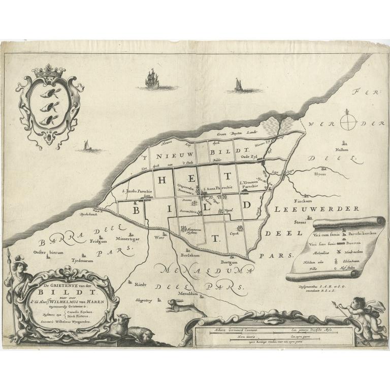 Antique Map of the Bildt region by Schotanus (1664)