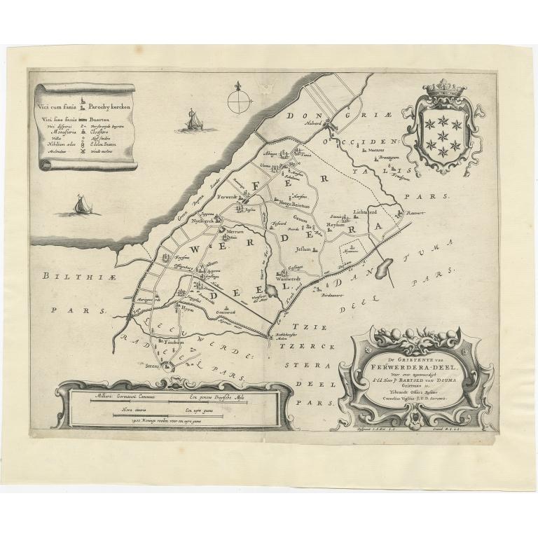 Antique Map of the region of Ferwerderadeel by Schotanus (1664)
