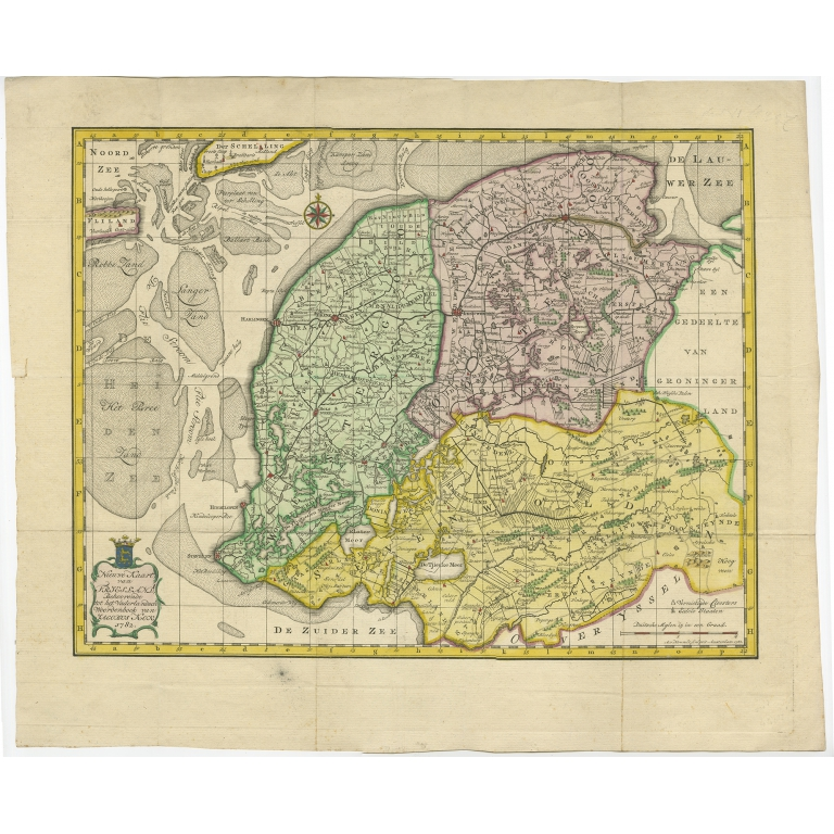 Antique Map of Friesland by Van Krevelt (1787)
