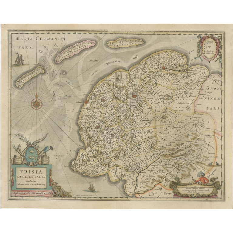 Antique Map of Friesland by Hondius (1638)