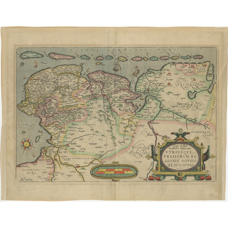Antique Map of Friesland by Ortelius (c.1570)