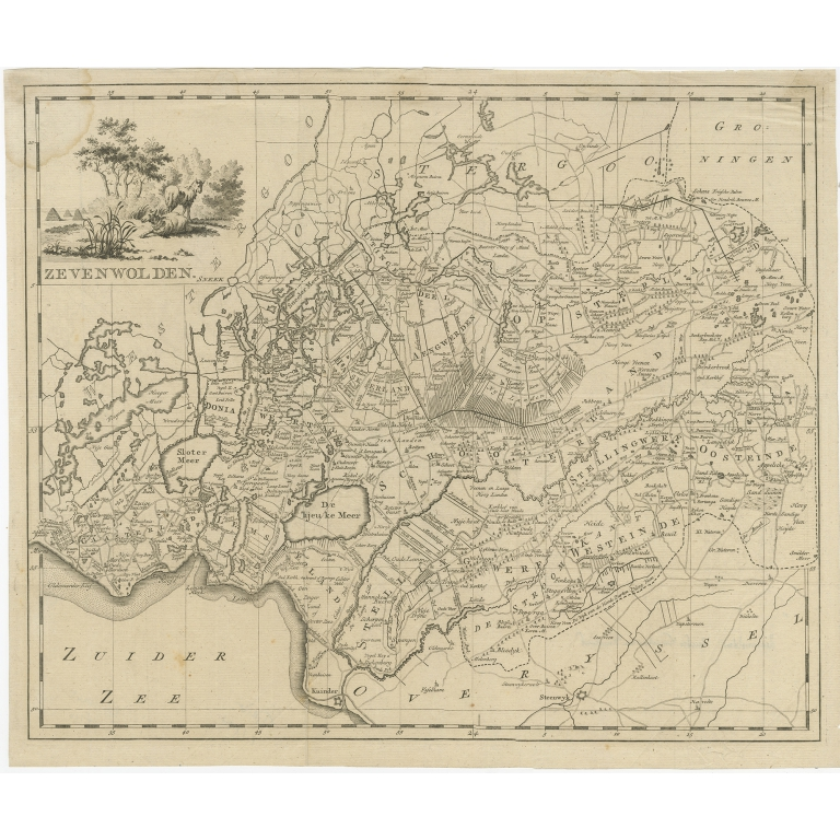 Antique Map of Zevenwolden by Tirion (1744)