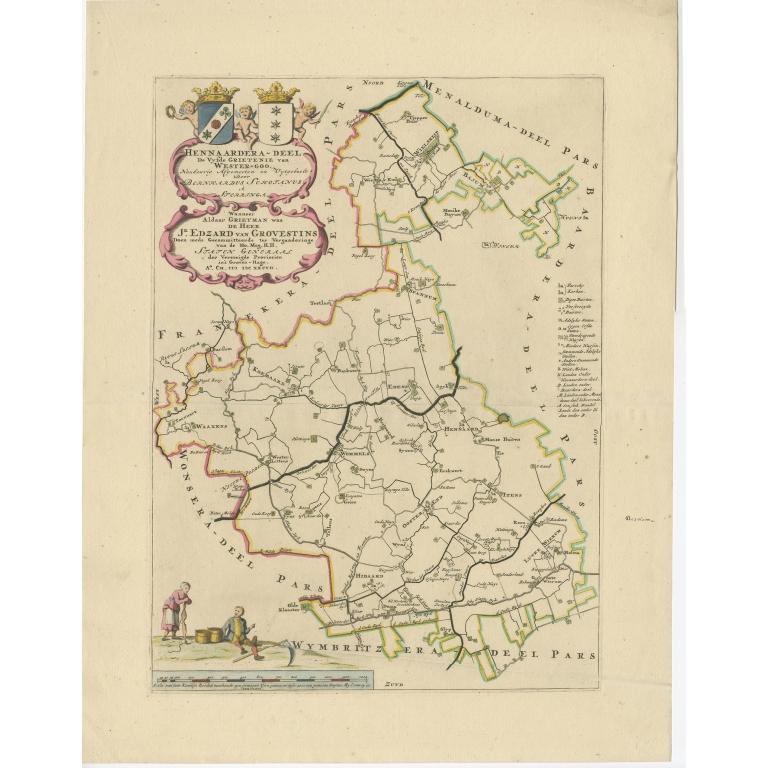 Antique Map of the Hennaarderadeel township (Friesland) by Halma (1718)