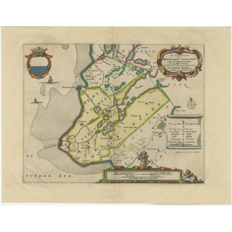 Antique Map of the region of Hemelumer Oldeferd by Schotanus (1664)