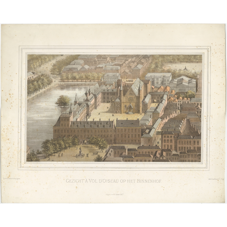 Antique Print of the 'Binnenhof' in the Hague by Lankhout (1879)