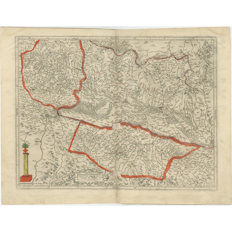 Antique Map of the Alsace region of France by Hondius (c.1610)