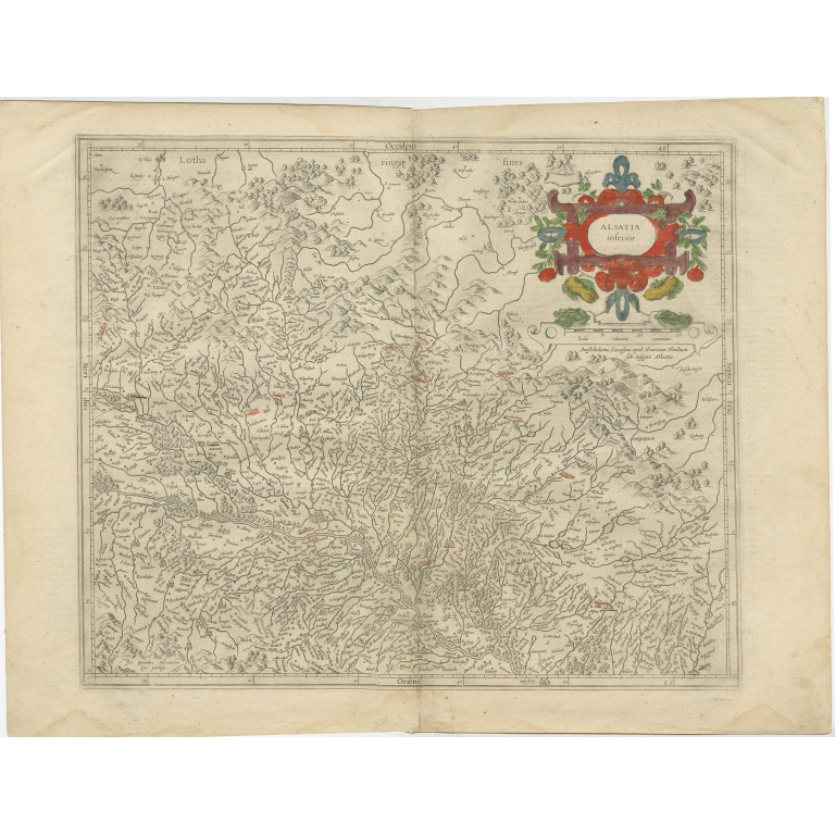 Antique Map of the Lower Alsace region of France by Hondius (c.1630)