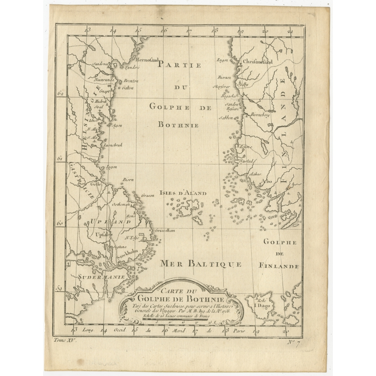 Antique Map of the Gulf of Bothnia by Prévost (1759)
