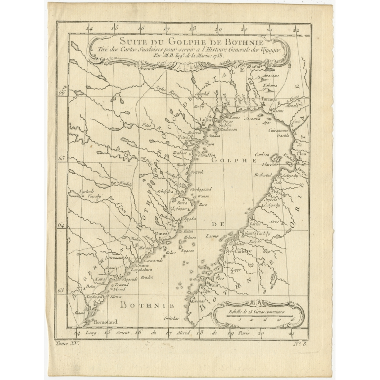 Antique Map of the region of the Gulf of Bothnia by Prévost (1759)