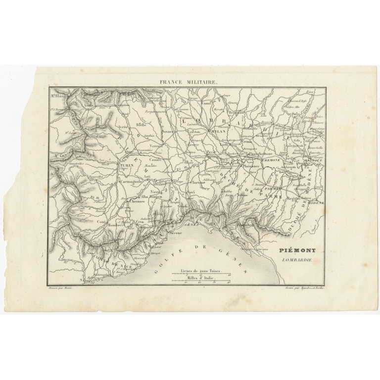 Antique Map of the region of Piedmont by Berthe & Ramboz (c.1835)