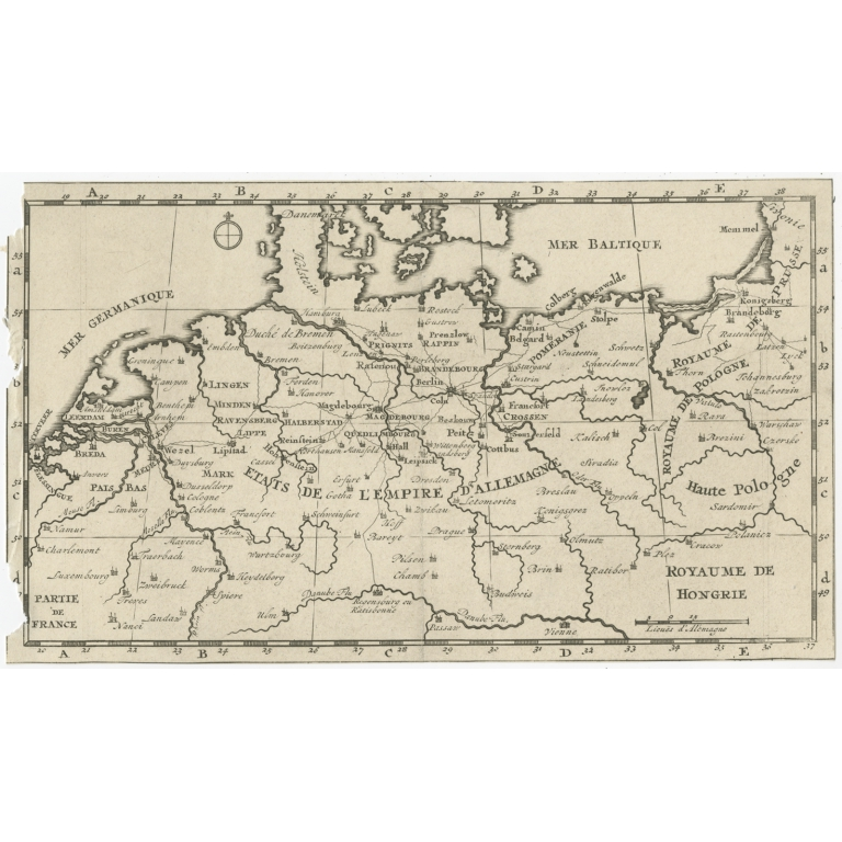 Antique Map of the German Empire and surroundings (c.1795)