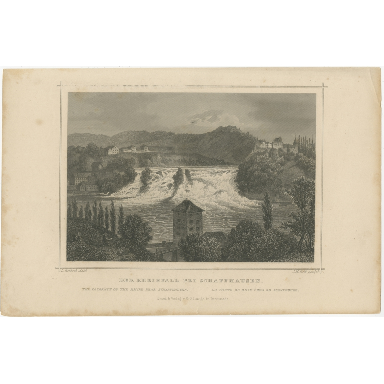 Antique Print of the Cataract of the Rhine near Schaffhausen by Kolb (1847)