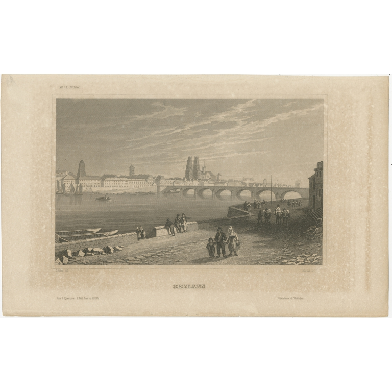 Antique Print of the city of Orléans by Meyer (1848)