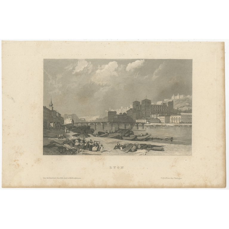 Antique Print of the city of Lyon by Meyer (1839)