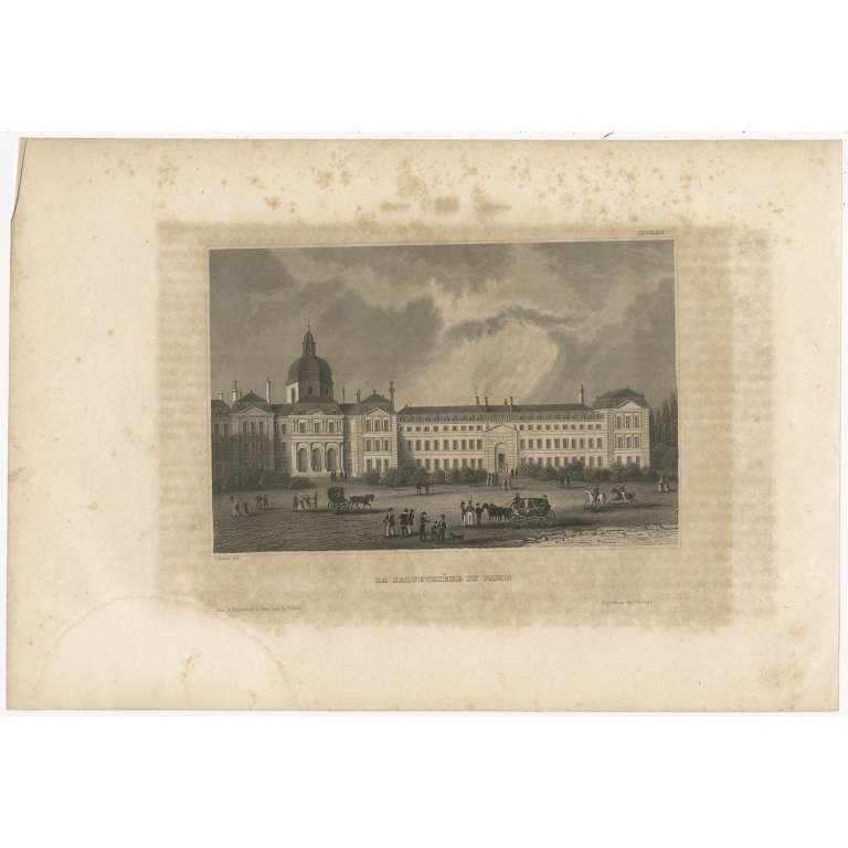 Antique Print of a Hospital in Paris by Meyer (1843)
