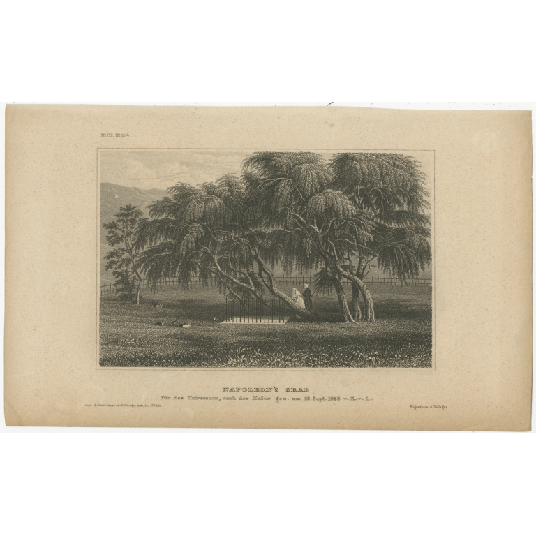 Antique Print of the Temporary Grave of Napoleon by Meyer (1840)