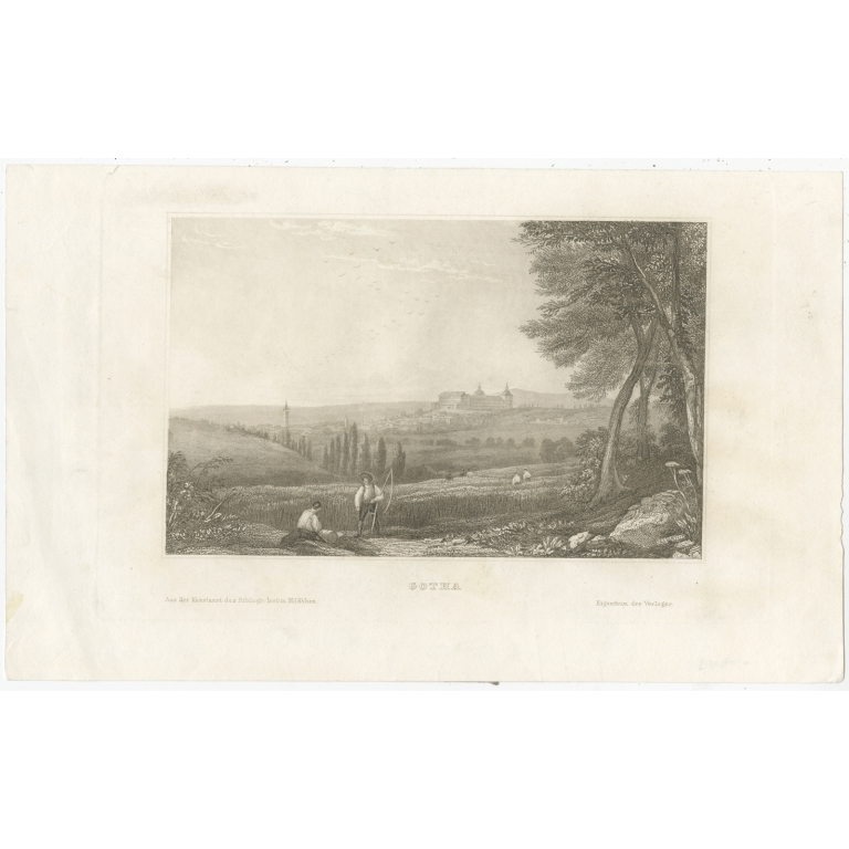 Antique Print of the city of Gotha by Meyer (1835)