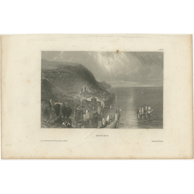 Antique Print of the city of Honfleur by Meyer (1835)