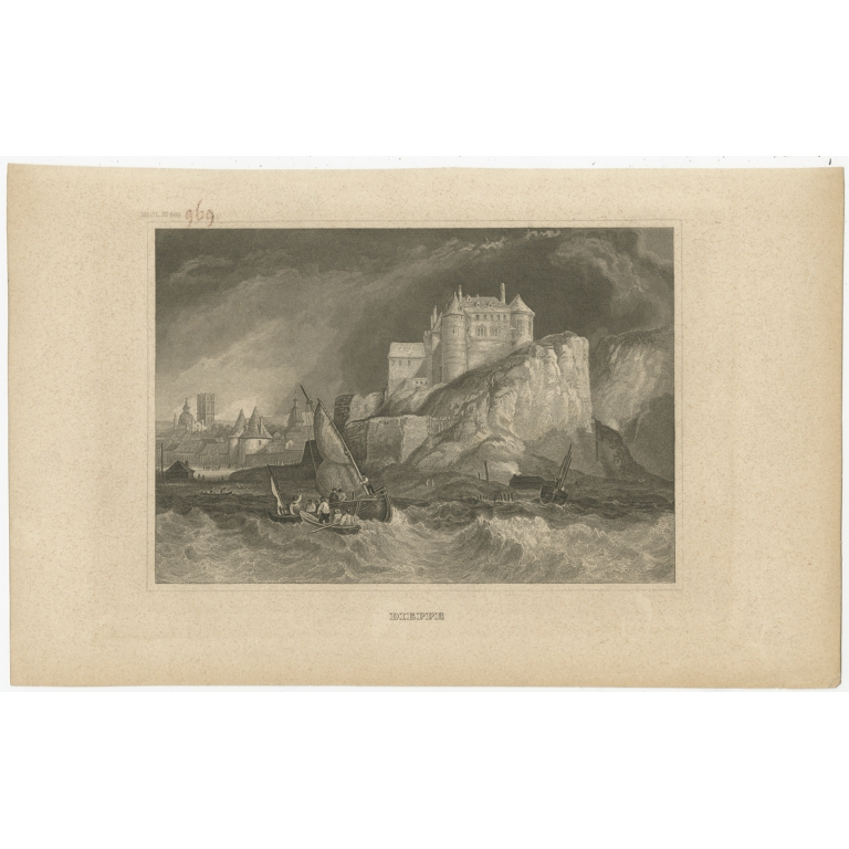 Antique Print of the city of Dieppe by Meyer (1833)