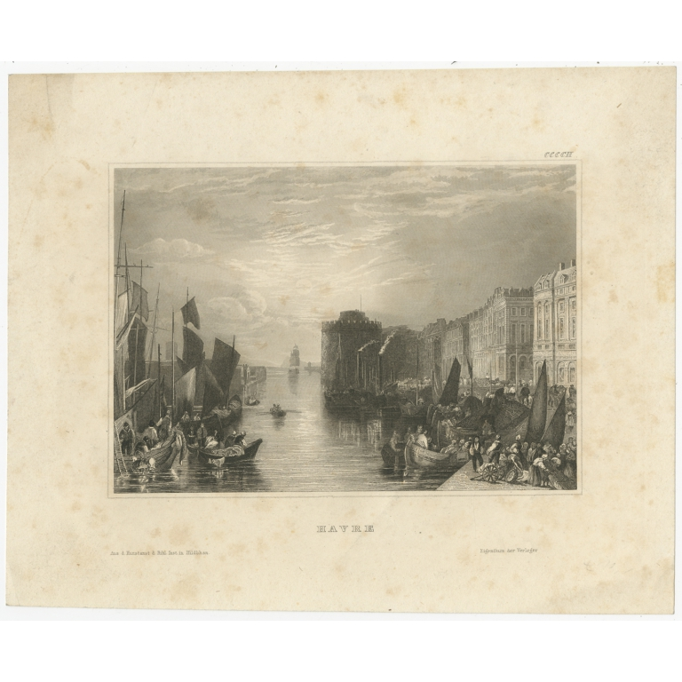 Antique Print of the city of Havre by Meyer (1835)