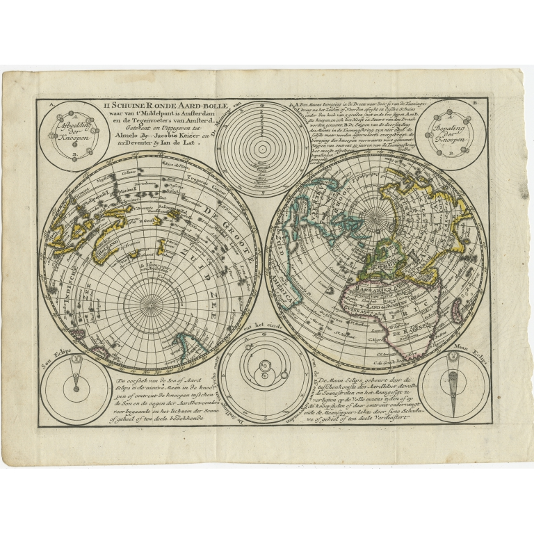 Antique Map of the World in Hemispheres by Keizer & De Lat (1788)