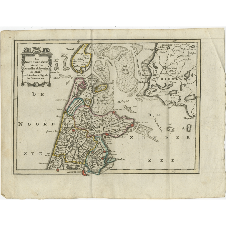 Antique Map of the Province of Noord-Holland by Keizer & De Lat (1788)