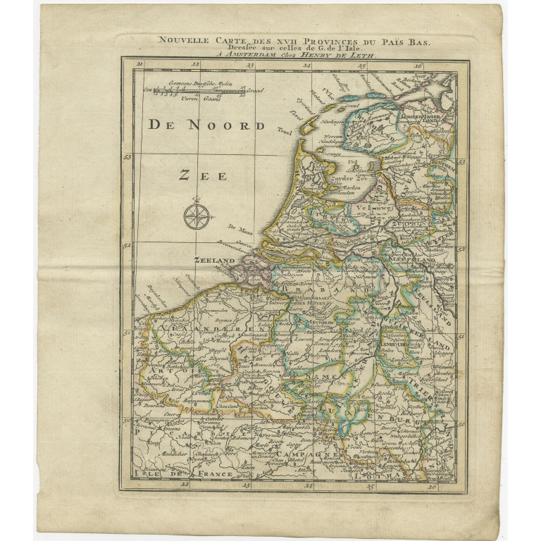 Antique Map of the Netherlands and Belgium by Keizer & De Lat (1788)