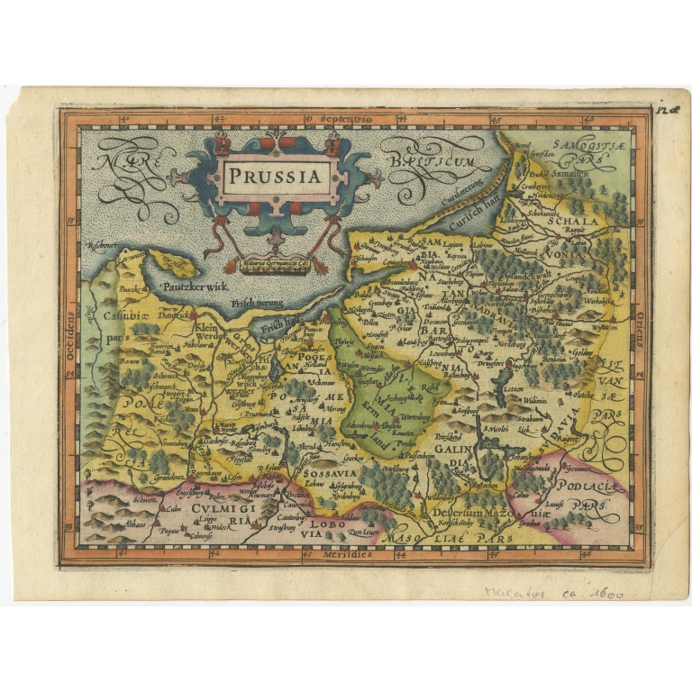 Antique Map of Prussia by Mercator (1610)
