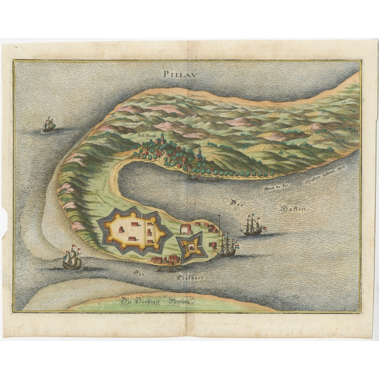 Antique Print of Baltiysk by Merian (1652)