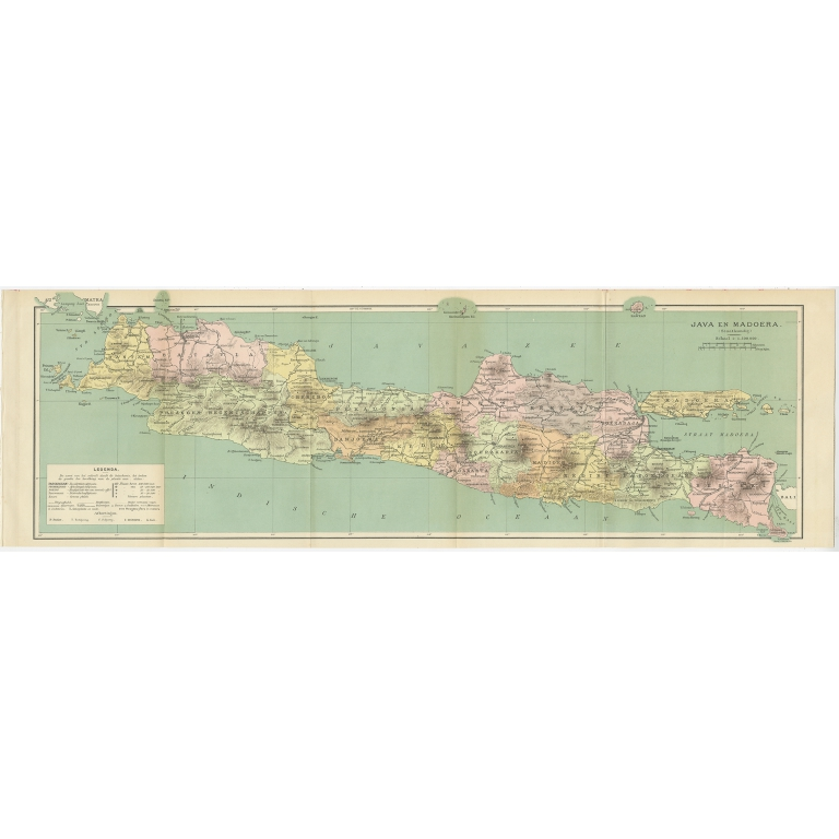 Antique Map of Java and Madura by Winkler Prins (1908)