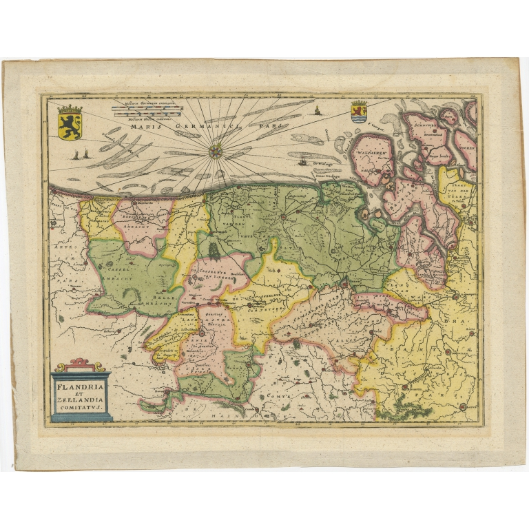 Antique Map of Flanders and Zeeland by Merian (1659)
