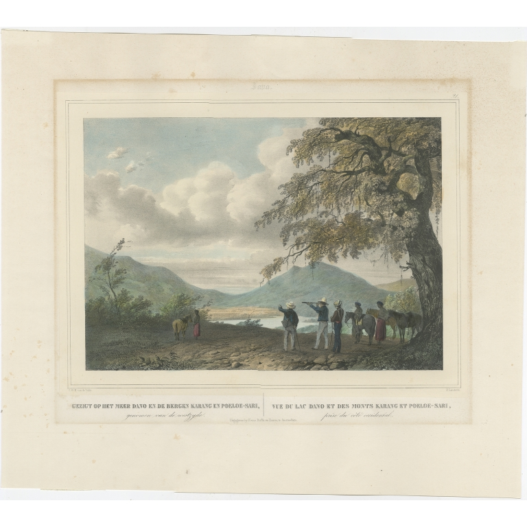 Antique Print of Lake Dano by Lauters (c.1845)
