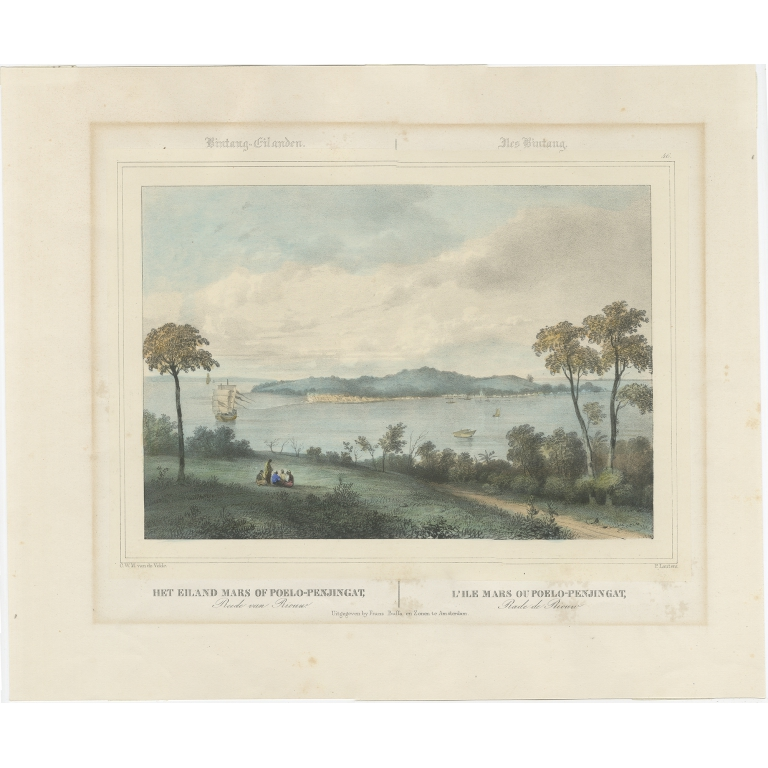 Antique Print of the Roadstead of Riau by Lauters (c.1845)