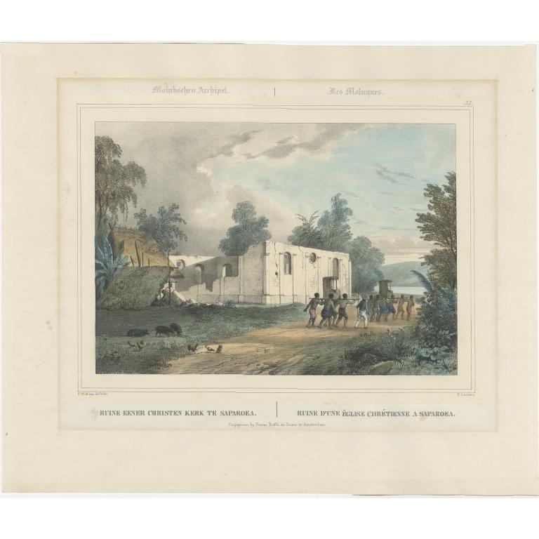 Antique Print of a Church in Saparoea by Lauters (c.1845)