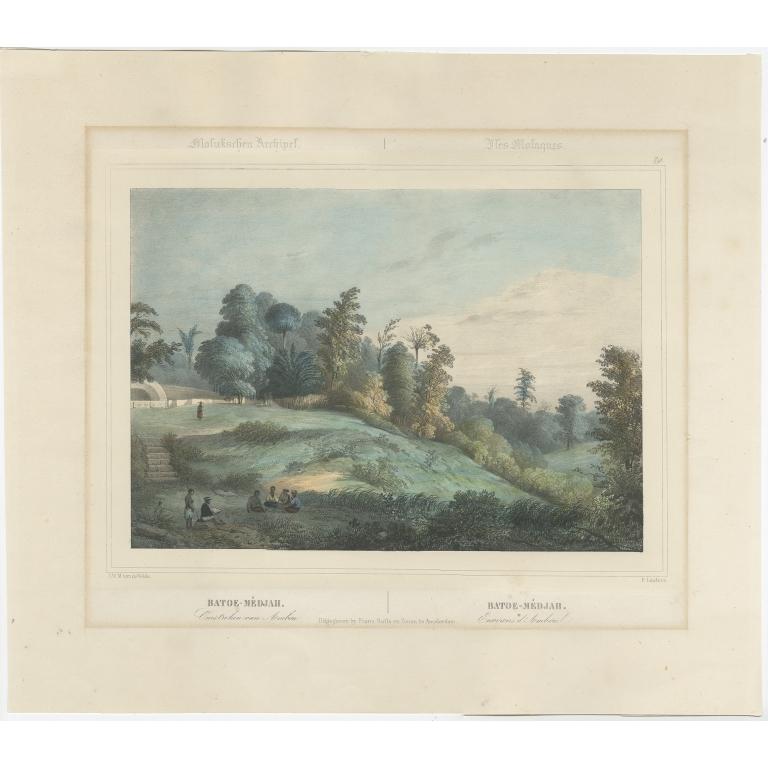 Antique Print of Batu Meja by Lauters (c.1845)