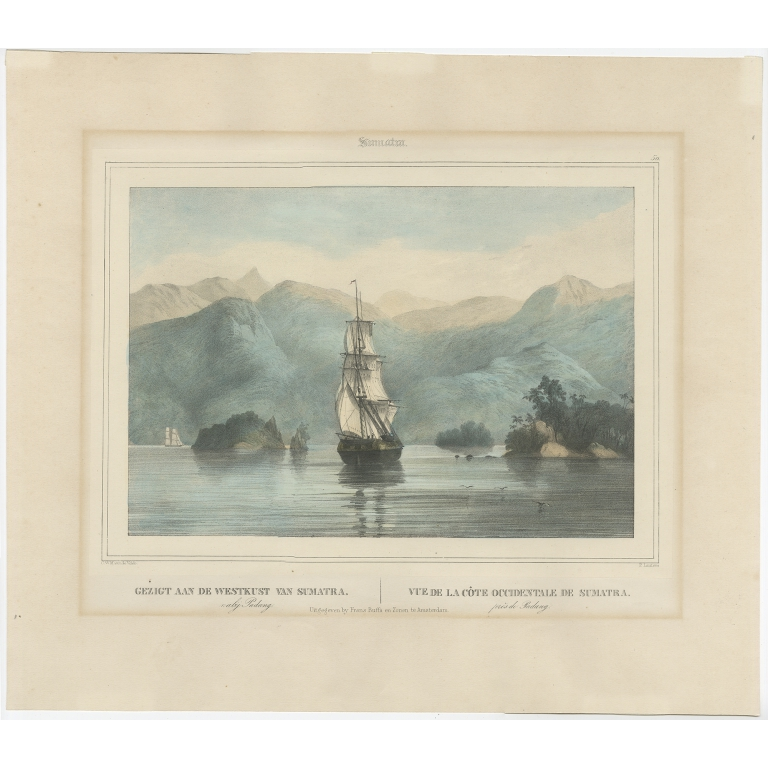 Antique Print of a Ship near the Coast of Sumatra by Lauters (c.1845)