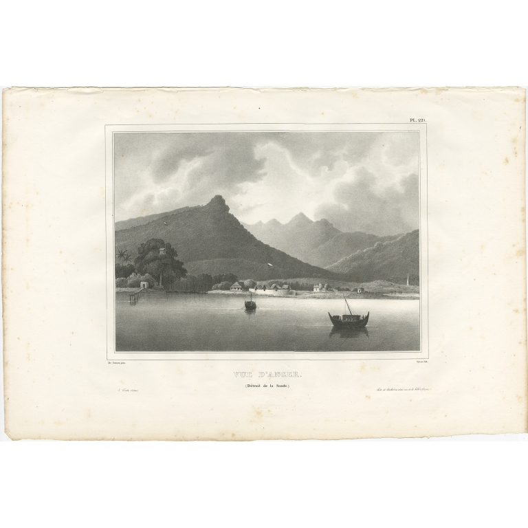 Antique Print of the City of Anyer by Dumont d'Urville (1833)
