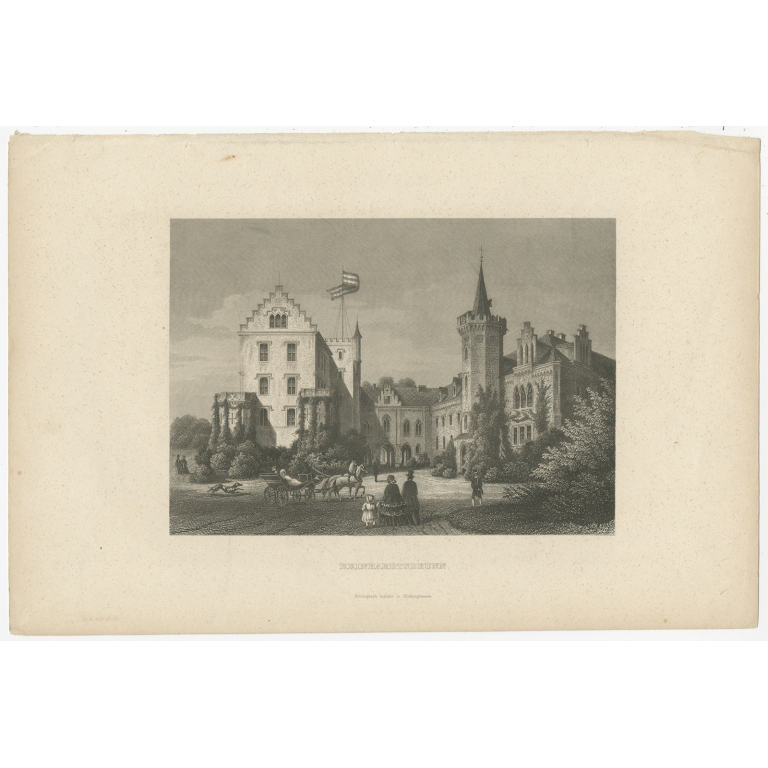 Antique print of Reinhardsbrunn Castle (c.1880)